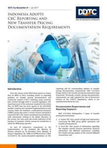 DDTC Tax Newsletter - Indonesia Adopts CbC Reporting and New Transfer Pricing Documentation Requirements