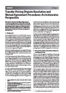 International Publication - Transfer Pricing Dispute Resolution and Mutual Agreement Procedures: An Indonesian Perspective