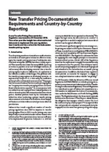 International Publication - New Transfer Pricing Documentation Requirements and Country-by-Country Reporting