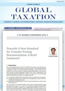 International Publication - Towards a New Standard for Transfer Pricing Documentation: A Brief Comment