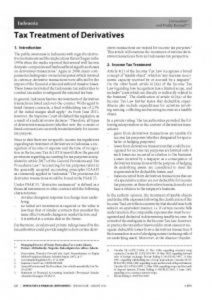 International Publication - Tax Treatment of Derivatives
