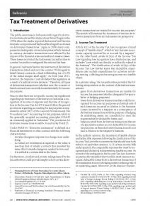 International Publication - Tax Treatment of Derivatives