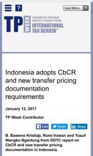 International Publication - Indonesia Adopts CbCR and New Transfer Pricing Documentantion Requirements
