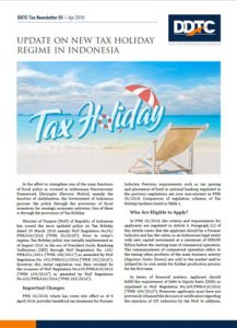 Newsletter - Update on New Tax Holiday Regime in Indonesia