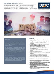 Newsletter - Reduction of Income Tax Rates for Publicly Listed Companies and Establishment of VAT Withholder Criteria for E-Commerce Businesses