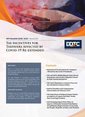 Newsletter - Tax Incentives for Taxpayers Affected by Covid-19 Re-extended