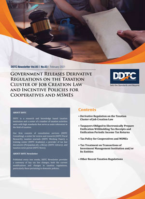 Newsletter - Government Releases Derivative Regulations on the Taxation Cluster of Job Creation Law and Incentive Policies for Cooperatives and MSMEs