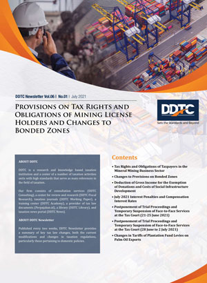 Newsletter - Provisions on Tax Rights and Obligations of Mining License Holders and Changes to Bonded Zones