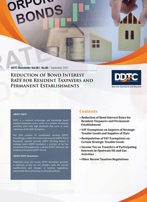 Newsletter - Reduction of Bond Interest Rate for Resident Taxpayers and Permanent Establishments
